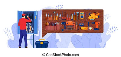 Electrician box vector illustration, cartoon flat repairman character working, repairing electric board panel cabinet isolated on white