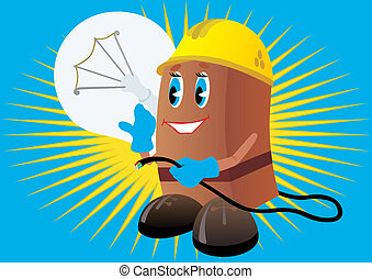 Electrician builder holding a light bulb and electric cord