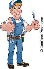 Electrician Cartoon Handyman Plumber Mechanic
