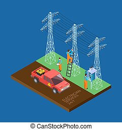 Electrician city services 3d isometric vector composition