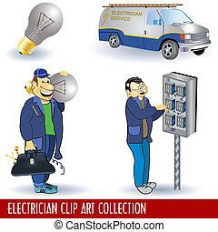 Electrician Clip Art Collection - Vector illustration of two...