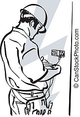 electrician - illustration of an electrician at work