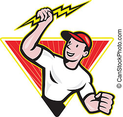 Illustration of an electrician construction worker holding a lightning bolt set inside traingle done in cartoon style in isolated white background.