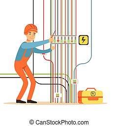 Electrician engineer in uniform repairing electricity power station, electric man performing electrical works vector Illustration