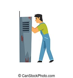 Electrician Engineer Repairing Equipment in Fuse Box, Electric Man Character in Blue Overalls Vector Illustration