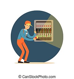 Electrician engineer repairing equipment in fuse box with flashlight, electric man performing electrical works vector Illustration