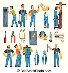 Electrician Engineers with Professional Electrician Tools Set, Electric Men Characters in Blue Overalls at Work Vector Illustration