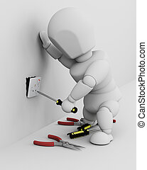 3D render of a man fitting an electrical socket
