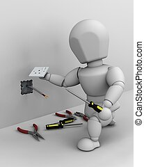 electrician fitting an electrical socket - 3D render of a...