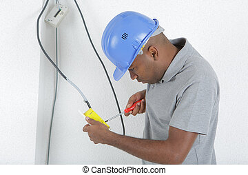 electrician fixing a wire