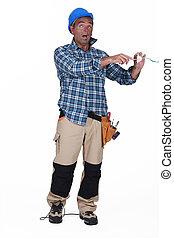 electrician having an electric shock