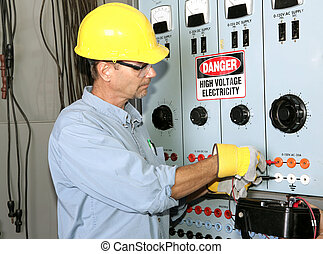 Electrician High Voltage - Actual electrician working on an ...