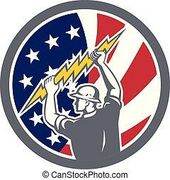 electrician hold lightning bolt CIRCI GR-USA-FLAG-ICON - ...