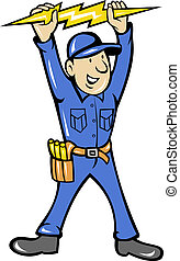 illustration of a electrician holding up an electric lightning bolt standing front done in cartoon style on isolated background