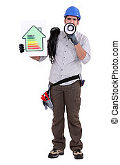Electrician holding energy efficiency sign and megaphone