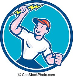 Electrician Holding Lightning Bolt Circle Cartoon -...