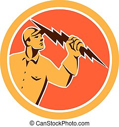 Electrician Holding Lightning Bolt Circle Retro