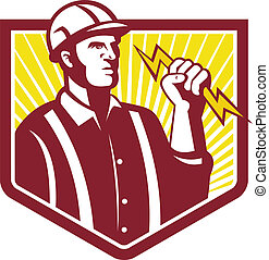 Electrician Holding Lightning Bolt Retro