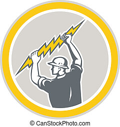 Electrician Holding Lightning Bolt Side Retro