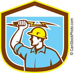 Electrician Holding Lightning Bolt Side Shield