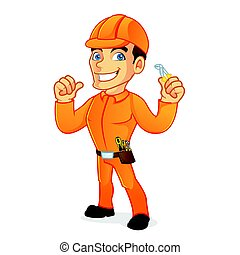 Electrician holding pliers and giving thumb up