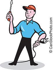 Electrician Holding Screwdriver Plug Cartoon