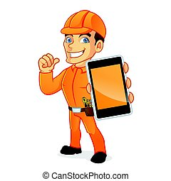 Electrician holding smart phone