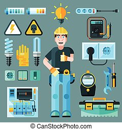 Electrician icons set with electricity and energy symbols flat isolated vector illustration
