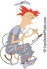 Electrician Illustration - Cartoon comic electrician repairs...