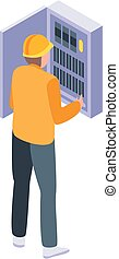 Electrician in metal box icon, isometric style