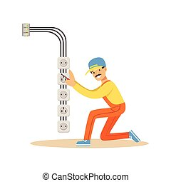 Electrician installing electrical equipment and sockets, electric man performing electrical works vector Illustration