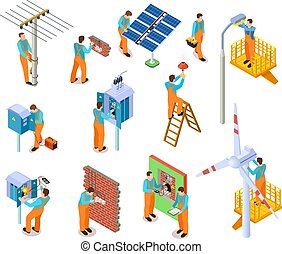 Isometric set with home repair workers doing maintenance