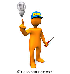 Electrician LED - Electrician with LED-Bulb on the white...