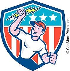 Electrician Lightning Bolt USA Flag Cartoon