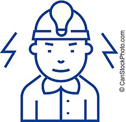 Electrician line icon concept. Electrician flat vector symbol, sign, outline illustration.