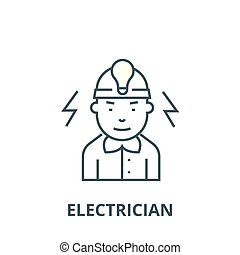 Electrician line icon, vector. Electrician outline sign, concept symbol, flat illustration