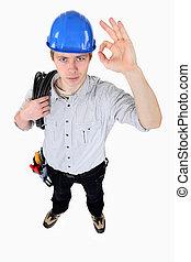 Electrician making OK gesture