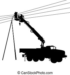 Electrician, making repairs at a power pole. Vector...