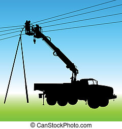 Electrician, making repairs at a power pole. Vector ...