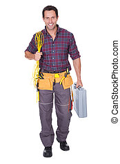 Electrician Man Holding Cable And Toolbox - Portrait Of ...