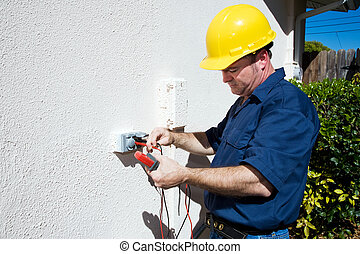Electrician Measures Voltage - Electrician measuring voltage...