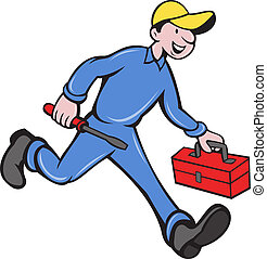 illustration of an electrician tradesman handyman mechanic walking with screwdriver and tool box done in cartoon style.
