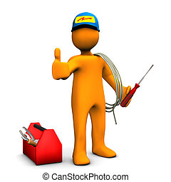 Electrician OK - Orange cartoon character as electrician...