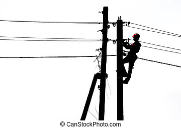 Electrician on power line
