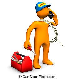 Electrician Phones - Orange cartoon character as electrician...