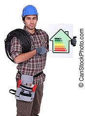 Electrician pointing to energy rating poster