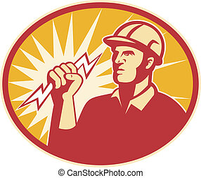 Electrician Power Line Worker Lightning Bolt - Illustration...