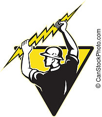 electrician power lineman holding lighting bolt -...