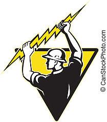 electrician power lineman holding lighting bolt -...