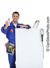 Electrician promoting his services